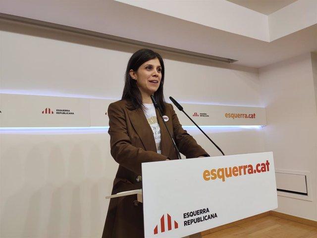 La secretria general adjunta i portaveu d'ERC, Marta Vilalta, en roda de premsa el 3 de febrer del 2020.