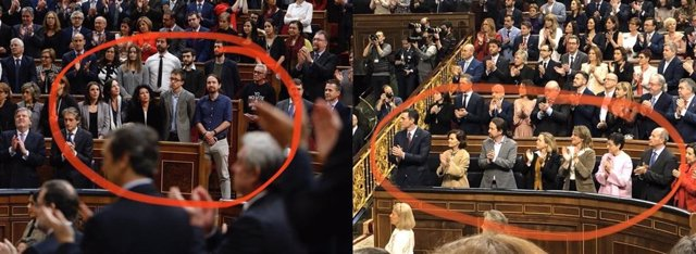 Diputados de Unidas Podemos ante el discurso del Rey, antes y después de entrar en el Gobierno