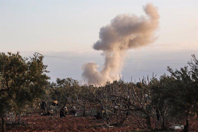 Bombardeig a Idlib (Síria).