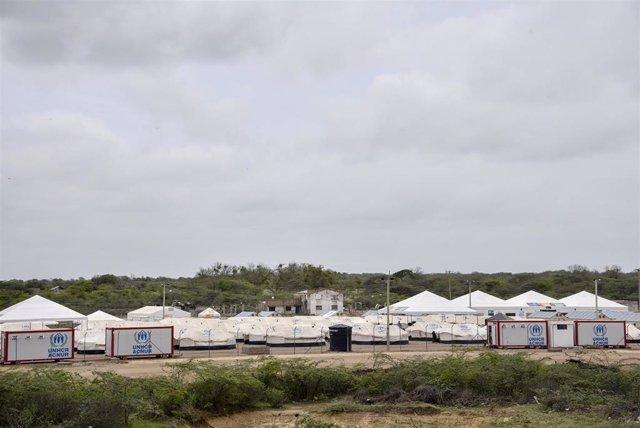 Campo para refugiados venezolanos en la frontera con Colombia