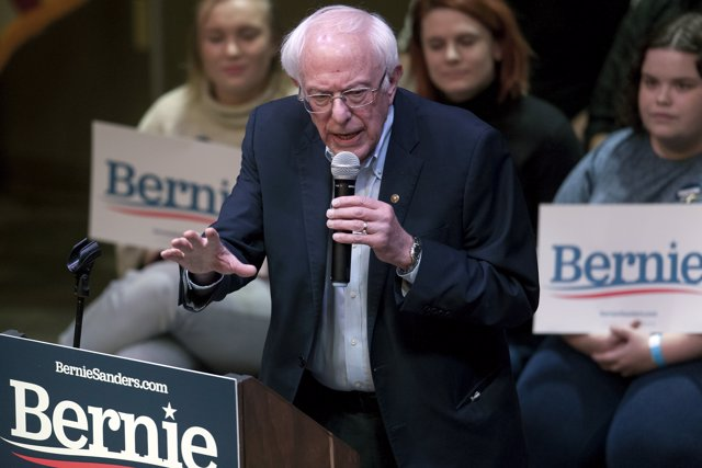 01 February 2020, US, Indianola: US Senator and Democratic presidential candidate Bernie Sanders speaks at a campaign event at Simpson College. Photo: Brian Cahn/ZUMA Wire/dpa