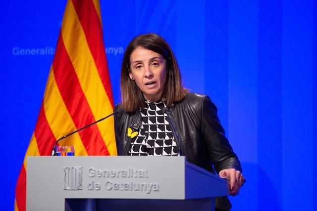 La portaveu del Govern, Meritxell Budó, en roda de premsa posterior al Consell Executiu, el 4 de febrer del 2020.