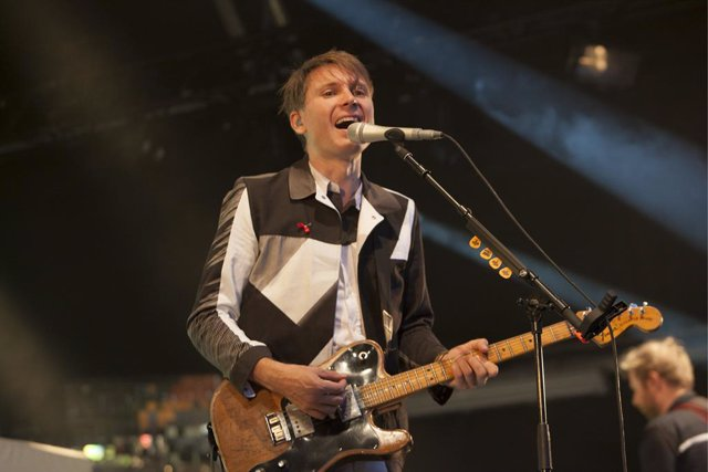 Alex Kapranos of Franz Ferdinand performing at the Somerset House festival, London.