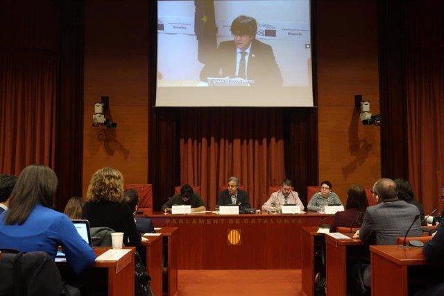 Carles Puigdemont en la comissió d'investigació del 155 al Parlament.