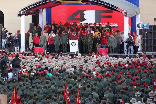 El presidente de Venezuela, Nicolás Maduro, en un acto con militares