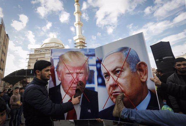 Protesgtas en Gaza contra el plan de paz de Donald Trump