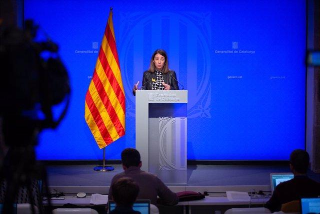 La consellera de la Presidència i portaveu del Govern, Meritxell Budó, ofereix una roda de premsa posterior al Consell Executiu al Palau de la Generalitat, Barcelona (Espanya), 4 de febrer del 2020.
