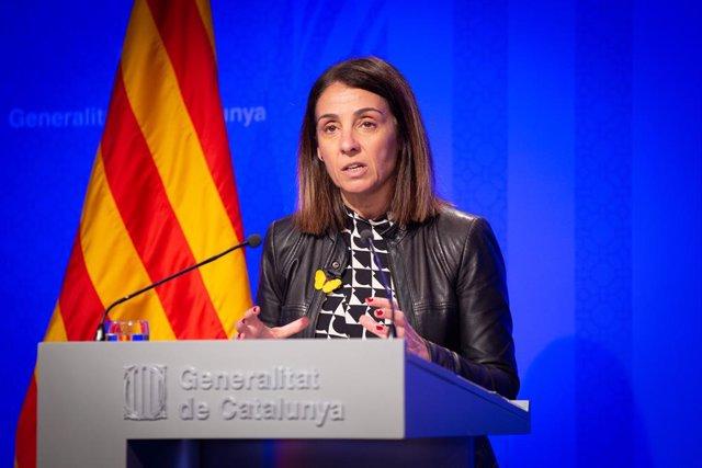 La consellera de la Presidncia i portaveu del Govern, Meritxell Budó, ofereix una roda de premsa posterior al Consell Executiu al Palau de la Generalitat, Barcelona (Espanya), 4 de febrer del 2020.