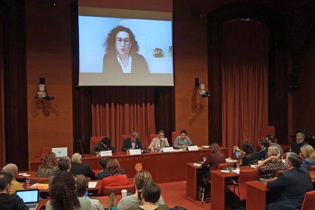 Marta Rovira (ERC) compareix per videoconferència en la comissió del 155 del Parlament