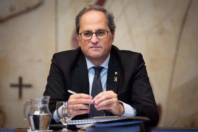 El president de la Generalitat, Quim Torra, en la reunión del Consell Executiu después su declaración institucional en la que ha afirmado que habrá adelanto electoral, en Barcelona /Catalunya (España), a 29 de enero de 2020.
