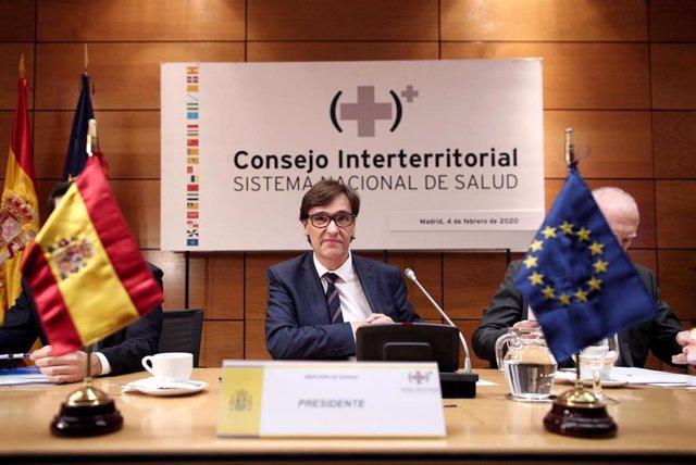El ministro de Sanidad, Salvador Illa, durante el pleno del Consejo Interterritorial de Sanidad para tratar la situación del Coronavirus, en Madrid (España), a 4 de febrero de 2020.