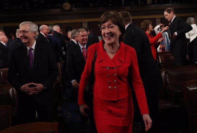 La senadora republicana Susan Collins llega al discurso del Estado de la Nación del presidente de Estados Unidos, Donald Trump.