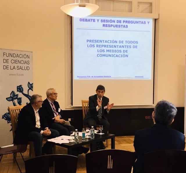 El director del Centro Nacional de Gripe de Valladolid, José M. Eiros, durante su intervención en el encuentro organizado por la Fundación de Ciencias de la Salud.