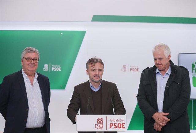 El portavoz del PSOE-A, José Fiscal (c) junto a el secretario general de COAG Andalucía, Miguel López (d) y el secretario general de UPA Andalucía, Miguel Cobos (i), atienden a los medios tras a reunión con el objetivo de analizar la situación actual del