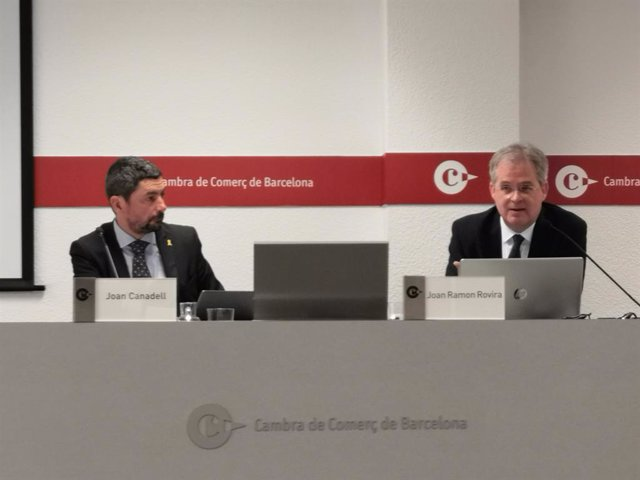 El president de la Cambra de Comerç de Barcelona, Joan Canadell, i Joan Ramon Rovira.