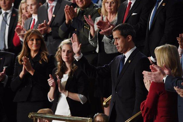 """El autoproclamado """"presidente encargado"""" de Venezuela, Juan Guaidó, en el Capitolio de Estados Unidos"""