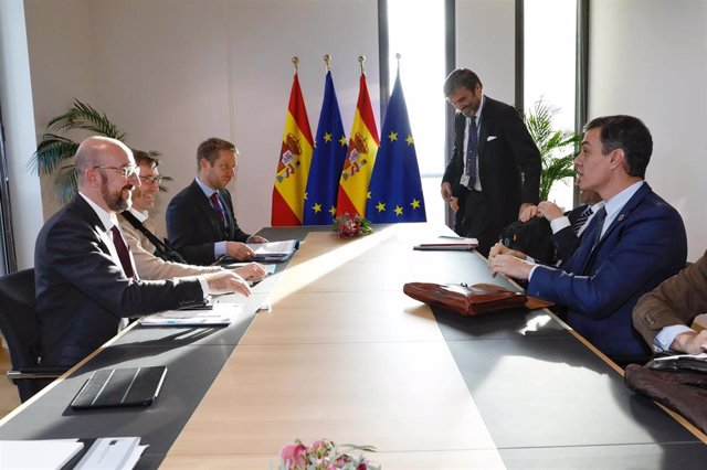 05 February 2020, Belgium, Brussels: President of the European Council Charles Michel (L) attends a meeting with Spanish Prime Minister Pedro Sanchez (R) at the European Council