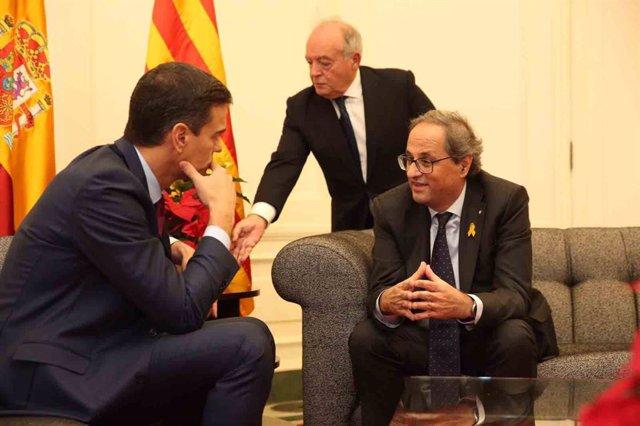 Pedro Sánchez y Quim Torra en Pedralbes