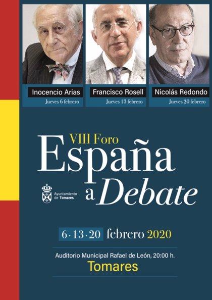 Inocencio Arias, Francisco Rosell y Nicolás Redondo, en el VIII Foro 'España a Debate' de Tomares (Sevilla)