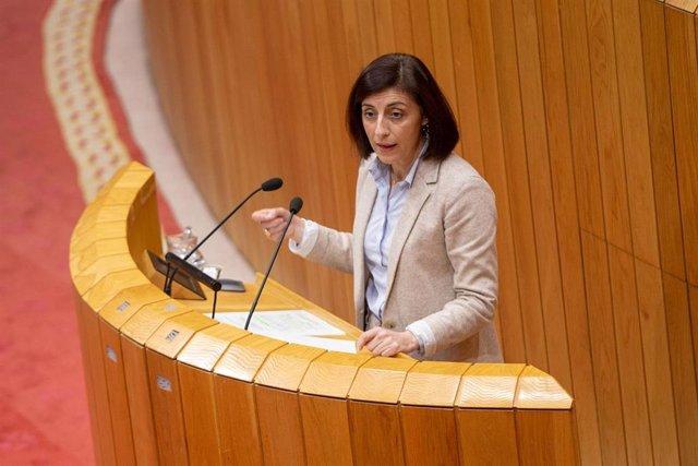 La conselleira de Medio Ambiente, Territorio e Vivenda, Ángeles Vázquez, en el pleno del Parlamento