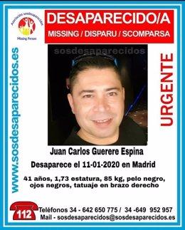 Imagen del cartel de SOSDesaparecidos que solicita colaboración para tratar de localizar a un hombre de 41 años desaparecido en Madrid.