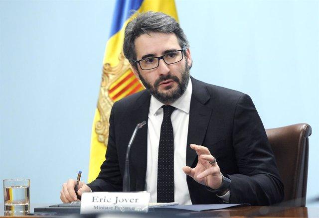 El ministre Portaveu, Eric Jover, durant la compareixença posterior a la reunió del Consell de Ministres d'aquest dimecres 5 de febrer de 2020