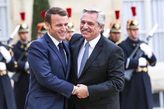 El presidente de Francia, Emmanuel Macron, y el de Argentina, Alberto Fernández.