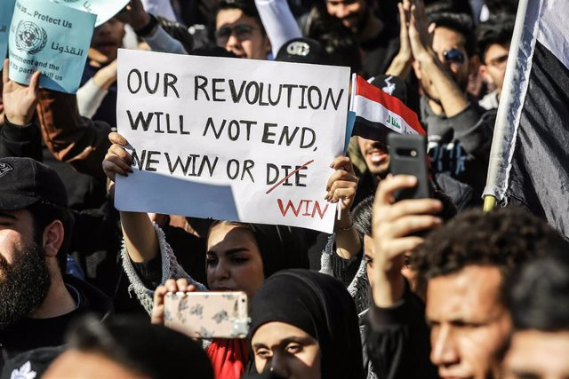 Una manifestación contra el Gobierno de Irak en Bagdad