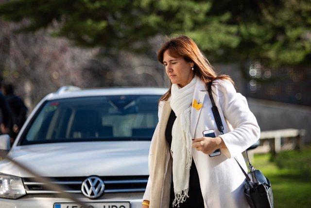 La portaveu del Grup Plural i de JxCat al Congrés dels Diputats, Laura Borràs, en el funeral de l'escriptora Isabel-Clara Simó, Barcelona/ Catalunya (Espanya), 16 de gener del 2020.