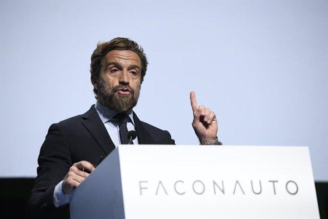 El presidente de Faconauto, Gerardo Pérez, durante su intervención en la jornada inaugural del Congreso Nacional de la Distribución de la Automoción, en Madrid (España).