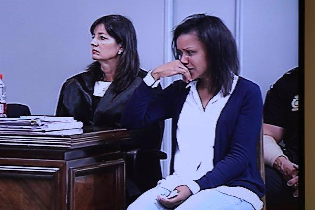 La autora confesa de la muerte del niño Gabriel Cruz, Ana Julia Quezada, declarando en Audiencia Provincial de Almería. Imágenes capturadas de la sala de prensa.