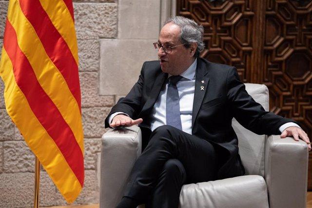 El presidente de la Generalitat, Quim Torra durante su reunión con el presidente del Gobierno, en Barcelona /Catalunya (España), a 6 de febrero de 2020.