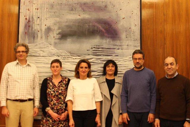 Los representantes de las organizaciones ecologistas, en su reunión con la vicepresidenta Teresa Ribera