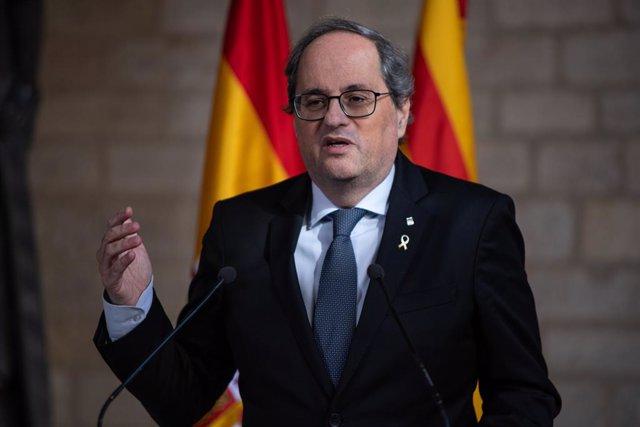 El president de la Generalitat, Quim Torra, en declaraciones ante los medios de comunicación tras su reunión con el presidente del Gobierno, Pedro Sánchez, en el Palau de la Generalitat, Barcelona /Catalunya (España), a 6 de febrero de 2020.
