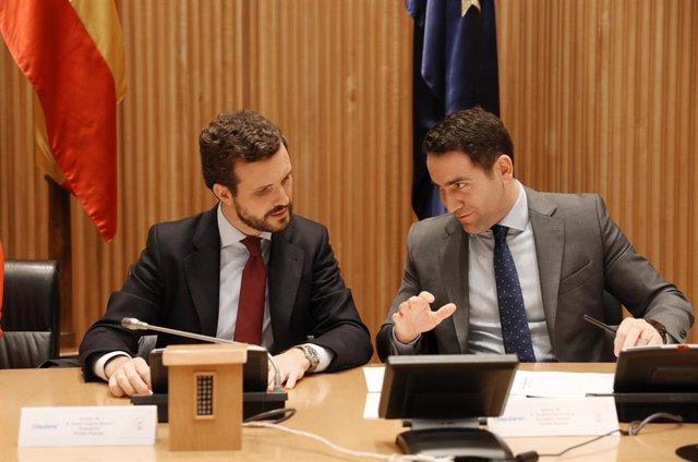 El presidente del PP, Pablo Casado (izq) y el secretario general del Partido Popular, Teodoro García Egea (dech), durante la reunión plenaria del Grupo Parlamentario Popular, en Madrid (España), a 6 de febrero de 2020.