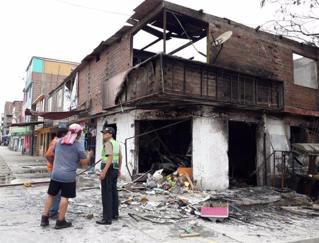 Una de las viviendas afectadas tras la explosión.