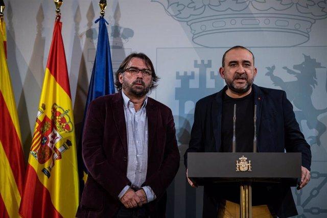 Declaraciones de los secretarios generales de CC.OO. de Catalunya Javier Pacheco (d) y de UGT de Catalunya Camil Ros (i) tras el encuentro con el presidente Pedro Sánchez en Barcelona a 6 de feberero de 2020