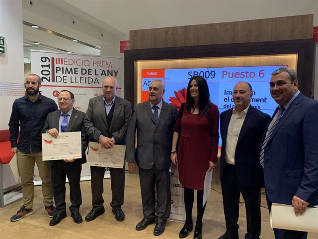 Empresarios premiados en la ceremonia Premio Pyme del Año 2019 de Lleida.