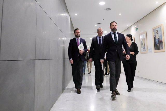 Iván Espinosa de los Monteros, Javier Ortega Smith, Santiago Abascal y Macarena Olona, diputados de Vox