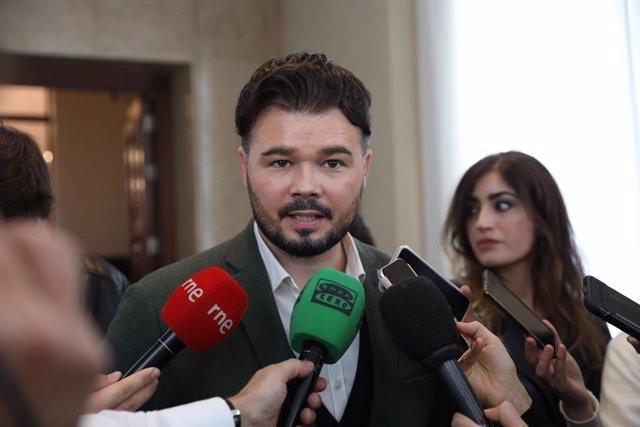 El portaveu d'ERC al Congrés dels Diputats, Gabriel Rufián, fa declaracions (Arxiu)