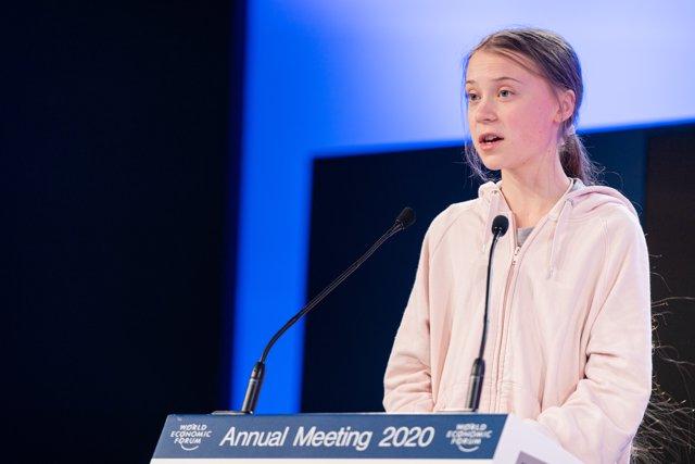 HANDOUT - 21 January 2020, Switzerland, Davos: Swedish climate activist Greta Thunberg speaks during the