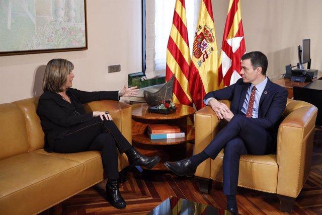 La presidenta de la Diputació de Barcelona, Núria Marín, i el president del Govern central, Pedro Sánchez, reunits a la Diputació de Barcelona aquest divendres 7 de febrer del 2020