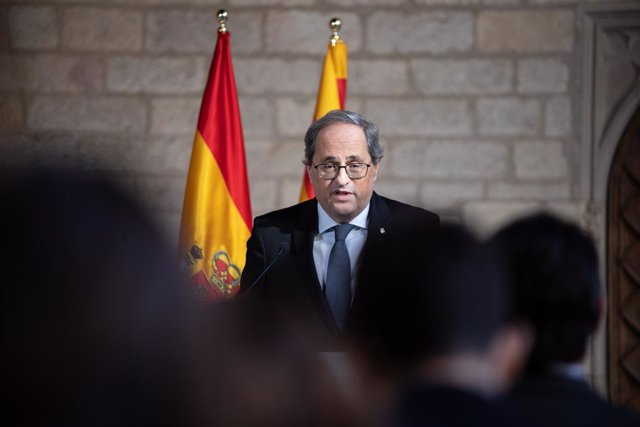 El president de la Generalitat, Quim Torra, en declaracions davant els mitjans de comunicació després de la seva reunió amb el president del Govern, Pedro Sánchez, en el Palau de la Generalitat, Barcelona /Catalunya (Espanya), a 6 de febrer de 2020.