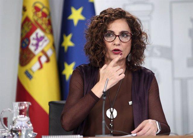 La ministra d'Hisenda i Portaveu del Govern central, María Jesús Montero, després del Consell de Ministres a La Moncloa, Madrid (Espanya), 4 de febrer del 2020.