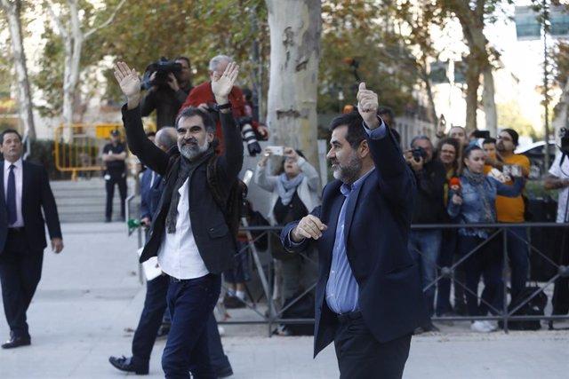 Jordi Sànchez i Jordi Cuixart el dia que van anar a declarar a l'Audiència Nacional l'any 2017.