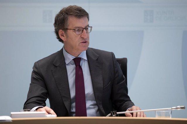 Feijóo presidint el Consello de la Xunta.