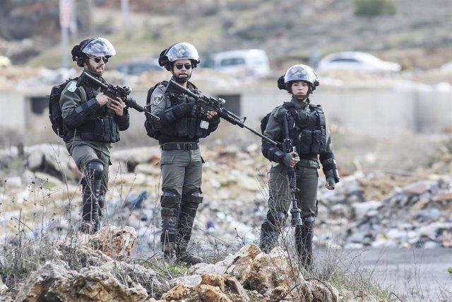 Soldados de Israel durante una protesta cerca de la ciudad palestina de Ramala, en Cisjordania