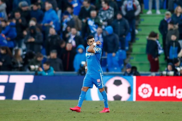 Angel Rodriguez of Getafe CF celebrates a goal during the Spanish League, La Liga, football match played between Getafe CF and Real Betis Balompie at Coliseum Alfonso Perez Stadium on January 26, 2020 in Madrid, Spain.