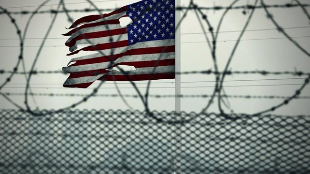 Bandera dels Estats Units a la frontera.