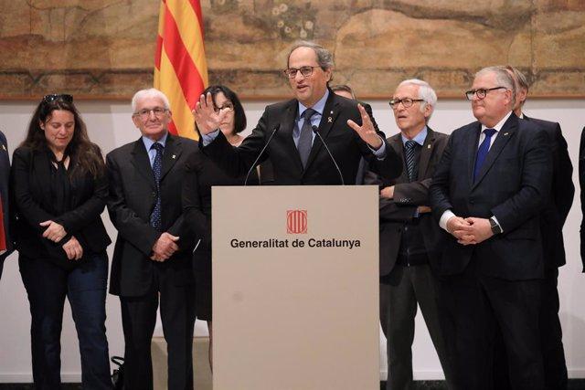 El president de la Generalitat, Quim Torra, compareix després de rebre alcaldes dels Pirineus Orientals (França).